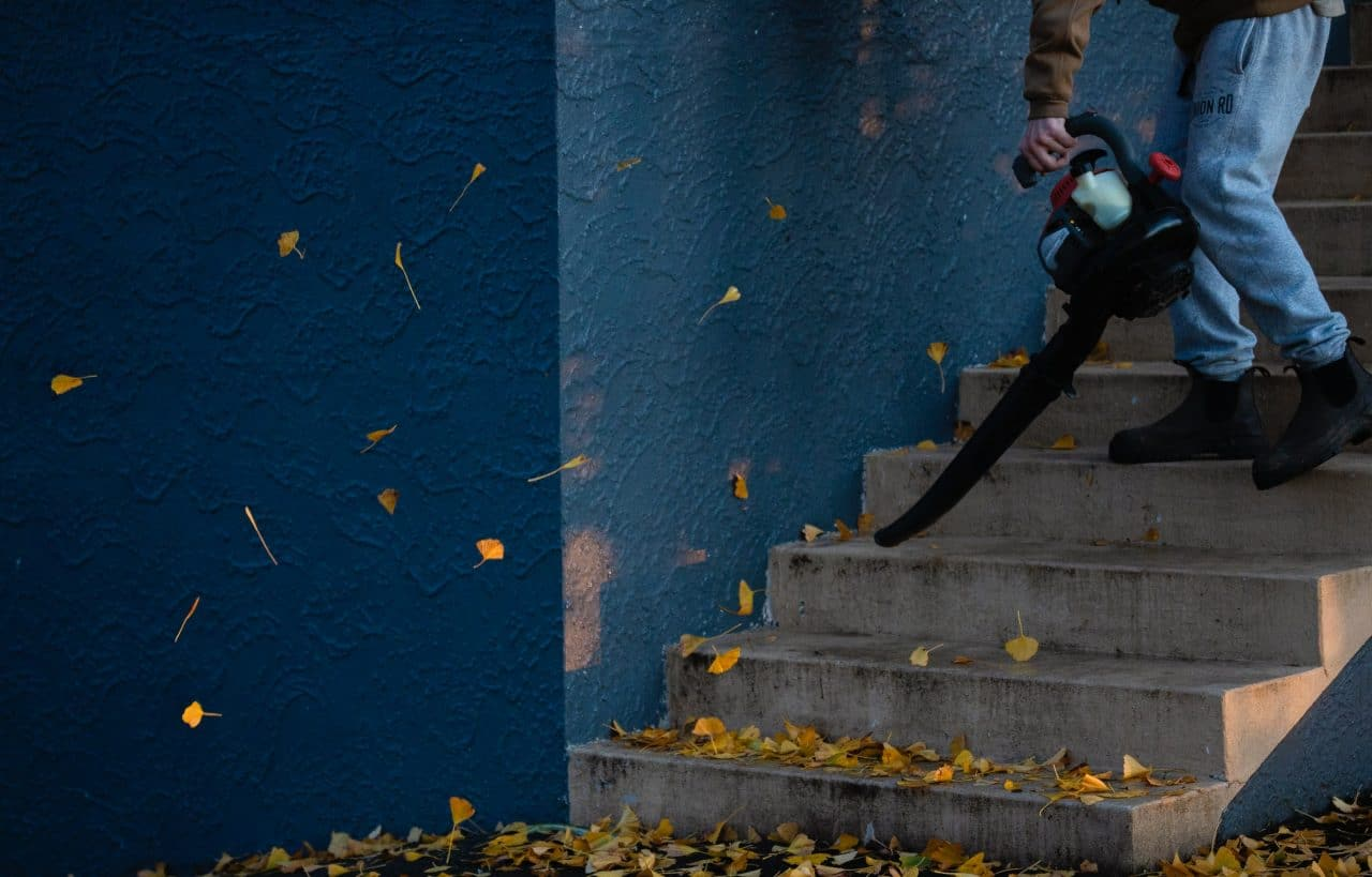 Person using a leaf blower to blow some leaves down some stairs
